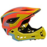 Kiddimoto 2-in-1 Fahrradhelm für Kinder, Jungen und Erwachsene MTB, BMX, Dirtbike, Skateboard mit abnehmbarer Kinnschutz, Orange/Gelb medium