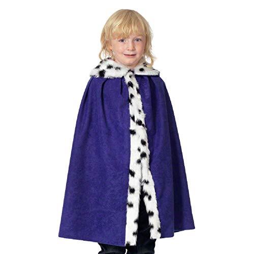 Kinder Jungen Mädchen Deluxe königsblau König Queen Velvet Mantel Weihnachten Krippe Verkleidung Kostüm Outfit - Lila, One Size, - Kinder Krippe König Kostüm