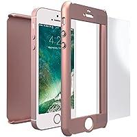 Funda iPhone SE 360 Grados + Cristal Templado, Mobilyos® [ 360 ° ] [ Oro Rosa ] Case, Cover, Funda iPhone 5s 360 Grados