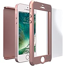 Funda iPhone SE 360 Grados + Cristal Templado, Mobilyos® [ 360 ° ] [ Oro Rosa ] Case, Cover, Funda iPhone 5s 360 Grados