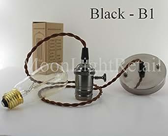 Vintage industriel Edison Support de lampe E27à vis Ampoule nue Set complet sans ampoule–Noir