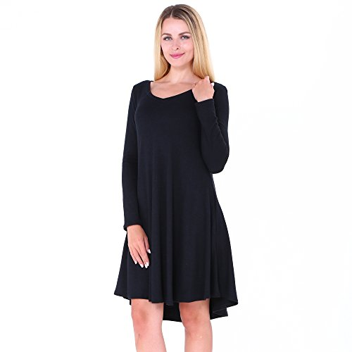 Dreamskull A Linie Basic Kleid Pullover Langarmkleid Lang Casual Loose Fit locker T-Shirt Top Oberteil mit Tasche Herbst Knielang Party Cocktail Damen Frauen 6683Schwarz