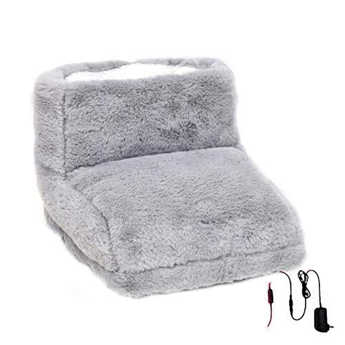 Elektrischer Fußwärmer, Verdickter Fleece-Fußwärmer, eingebauter Heizchip, beheizbare Hausschuhe für den Winter zuhause und im Büro-Grau (Color : Grau, Size : -)