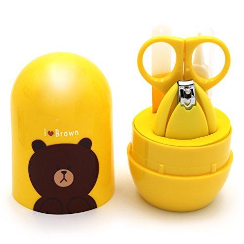 Kit coupe ongles bébé   coupe ongles bébé   ciseaux à ongles bébé   Kit de manucure pour bébé   kit 4 en 1, un coupe ongles, une lime à ongle pour bébé, une paire de ciseaux pour les ongles bébé, ainsi qu'une pince pour le nez. (Ourson)