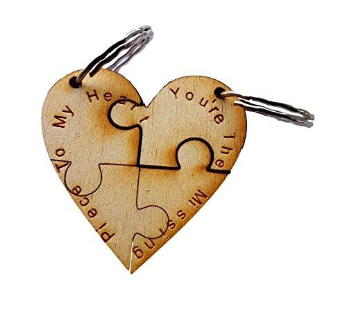 Cuore Jigsaw coppie portachiavi inciso-your The Missing Piece to my Heart - Inciso Portachiavi