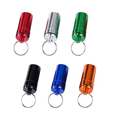 Mini Pillendosen Aluminium Pillenbox mit Schlüsselbund Wasserdichte Tablettenbox Tragbar Pillen-Dose Perfekt für Outdoor-Nutzung Angeln Camping Wandern Reisen 6 Stück(6 Farben)