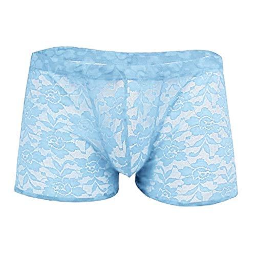 Dasongff Herren Unterwäsche Männer Erotisch Unterhose Spitzen String Slip Transparentes Boxer Rose Print Shorts Unterhosen - Print-stretch-höschen