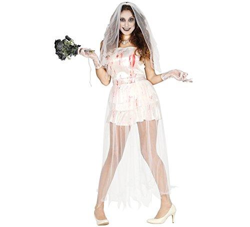 Braut Kostüm Sexy Zombie - Zombie Braut Blut Halloween Horror Hochzeit Party Kostüm für Damen Leiche Gr. M - L, Größe:M