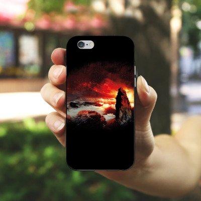 Apple iPhone X Silikon Hülle Case Schutzhülle Wolken Fantasie Berge Silikon Case schwarz / weiß