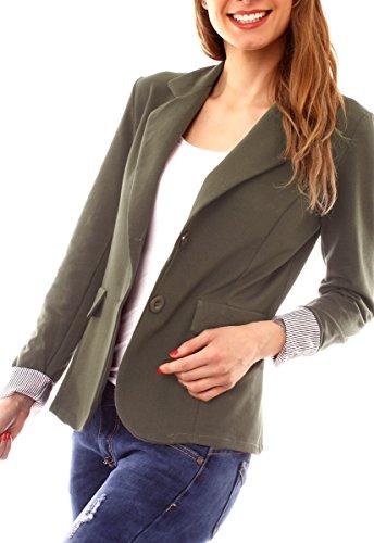 Easy Young Fashion Damen Jerseyblazer 7/8 Arm Ungefüttert Olive