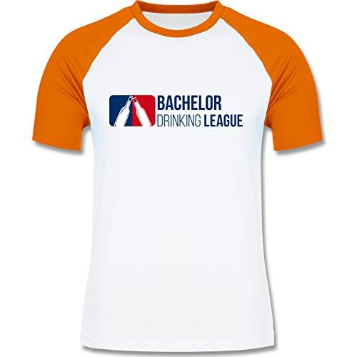 JGA Junggesellenabschied - Bachelor Drinking League - zweifarbiges Baseballshirt für Männer Weiß/Orange