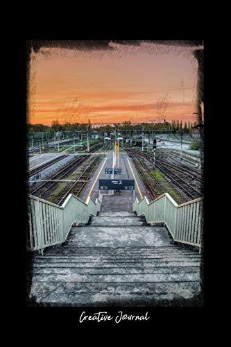 Creative Journal Dot Grid Journal Railway Track Outdoor Travel Station Sunset Sky Black Dotted Diary Planner Gratitude Writing Travel Goal