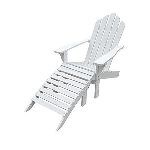 Ensemble fauteuil + repose-pieds en sapin blanc