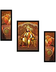 Saf Diwali Gift For Home Uv Textured Shivaji Religious Print Framed Art Print Painting Set Of 3 For Home Decoration - Size 35 X 2 X 50 Cm