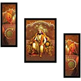 "SAF ""Shivaji"" Religious Framed Painting (Synthetic, 35 Cm X 50 Cm X 2 Cm, UV Textured, Set Of 3)"