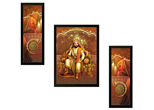 SAF UV Textured Shivaji Religious Frame Painting Set (Synthetic, 33 cm x 37 cm x 4 cm, Gold, Set of 3)