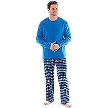 47b342174a hombre polar suave ropa Cómoda Pijama Largo Manga Larga Invierno Cómodo  Microfleece Azul Marino
