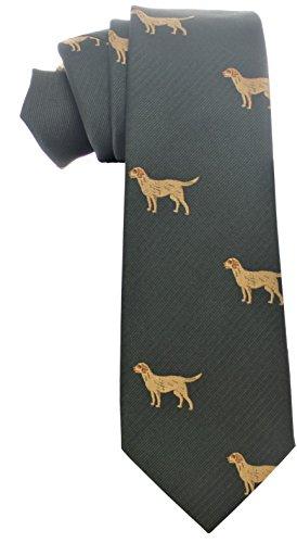 Alexanders Krawatte mit Golden Retriever Muster in Grün