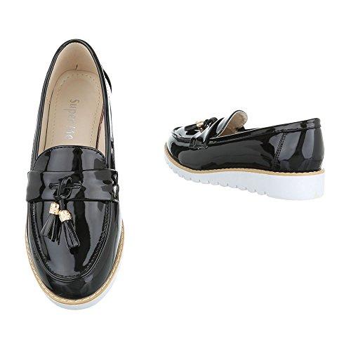 Damen Halbschuhe Schuhe Slipper Loafer Mokassins Flats Slip On Weiß Schwarz Pink Silber 36 37 38 39 40 41 Schwarz