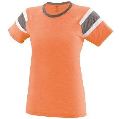 Augusta Sportswear Girls Fanatic Tee S Light Orange/Slate/White -