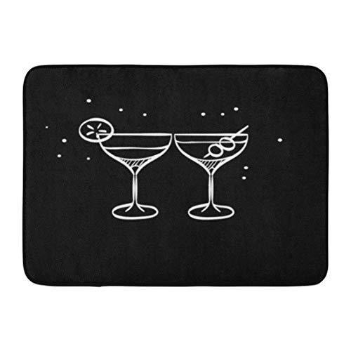 Bad Teppiche Outdoor/Indoor Fußmatte Roter Alkohol Wein Glas in Doodle Sketch Linien Feier Paar Trinken Martini Cocktail Bar Badezimmer Dekor Teppich Badematte ()