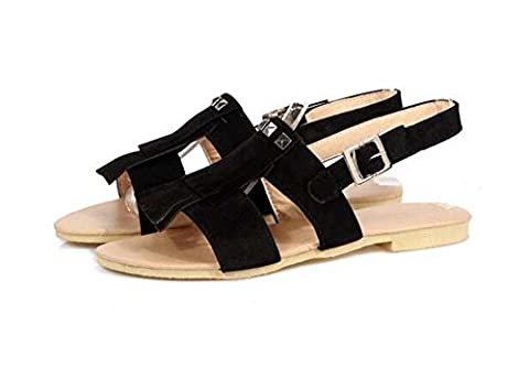 Beauqueen Sandals Women's Summer Pumps Tassel Flat Buckle Female Casual Shoes Special Size Europe 30-43 , black ,