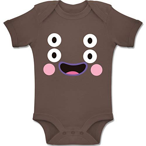 Shirtracer Karneval und Fasching Baby - Monster Kostüm Karneval - 6-12 Monate - Braun - BZ10 - Baby Body Kurzarm Jungen Mädchen