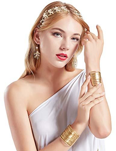 Coucoland Athene Kostüm Zubehör Set Damen Blatt Stirnband Haarreif Perlen Ohrringe Gold Spule Armband Exotisch Damen Göttin Fasching Kostüm Accessoires (Halloween-kostüm Römische Antike)