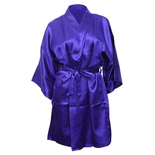Amosfun Batas de Dama de Honor Mujeres Camisones Kimono Batas Fiesta Albornoz (Azul)