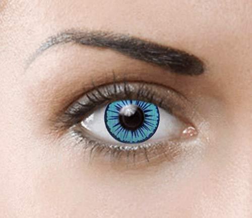 PHANTASY Eyes® Farbige Kontaktlinsen, Ohne Stärke (BLUE ELF) Lunatic/Zombie/Cosplay perfekt zum Halloween und Karneval, Jahres Linsen, 1 Paar crazy fun Contact linsen + Kontaktlinsenbelälter!