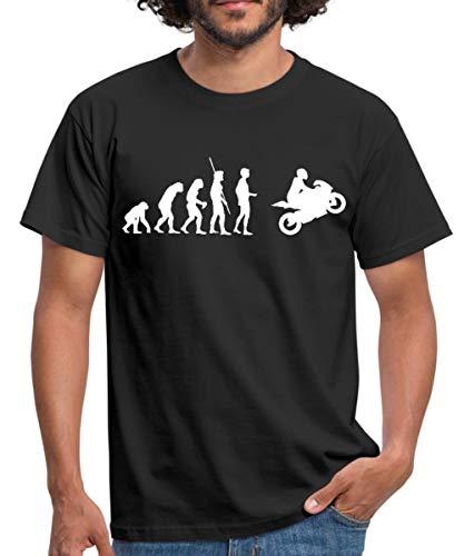 Evolution Motorrad Motorradfahrer Biker Männer T-Shirt, L, Schwarz