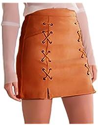 Faldas Mujer Bandage Gamuza Talle Alto Una Línea Faldas Ropa Dama Moda  Fashionista Cortas Elegantes Vintage 07929350b82d