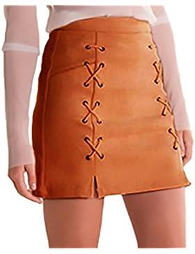 Faldas Mujer Moda Bandage Gamuza Talle Alto Una Línea Faldas Cortas Elegantes Vintage Color Sólido Stretch Falda...