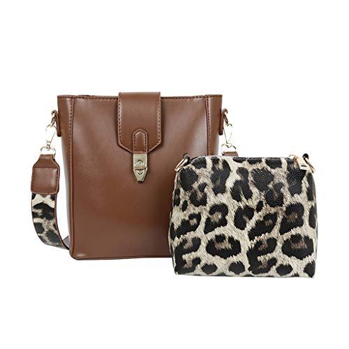 XZDCDJ UmhängeTaschen Damen Damen Mode Leopard Bucket Bag Composite Umhängetasche Haspe Handtasche Tasche Braun