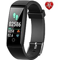 Yacikos Montre Connectée Podomètre, Bracelet Connecté Etanche IP67/Smartwatch/Tracker d'activité Sport Fitness avec Cardiofréquencemètre Écran Couleur pour Android iOS