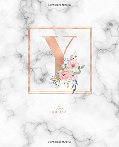"""Dotted Journal: Dotted Grid Bullet Notebook Journal Rose Gold Monogram Letter Y Marble with Pink Flowers (7.5"""" x 9.25"""") for Women Teens Girls and Kids por Cute Little Journals"""