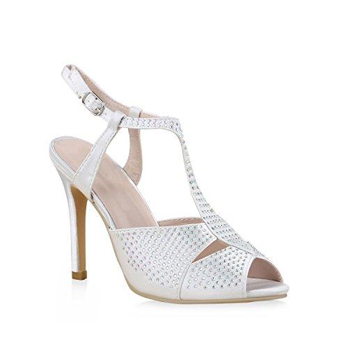 Damen Party Strass Sandaletten High Heels Stilettos Sommer Glitzer Abiball Hochzeit Braut Schuhe 130555 Weiss Steine 39 Flandell