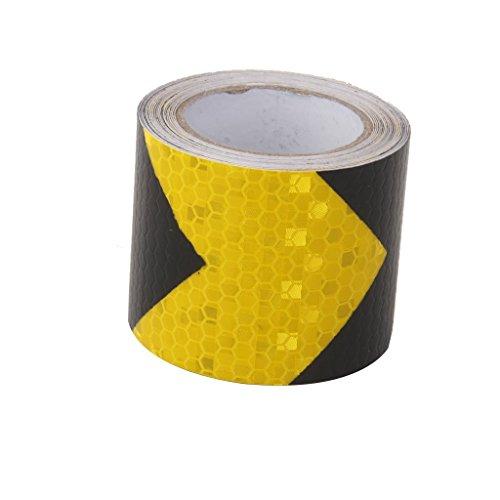 xel_uu.11 - Cinta adhesiva reflectante de alta resistencia, autoadhesiva, de advertencia de seguridad vial 5cm*3m blanco/amarillo