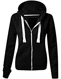3622c0014f076 Ladies Plain Zip Up Hoodie Womens Fleece Hooded Top Long Sleeves Front  Pockets Soft Stretchable Comfortable Plus Sizes Small to…