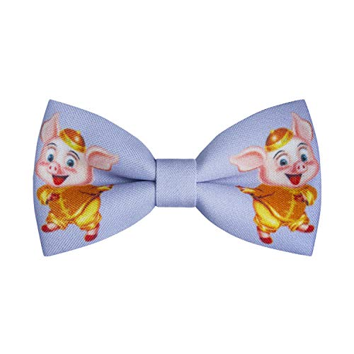 Bow Tie House Pig bow tie Chinese New Year 2019 pattern pre-tied shape, by (Purple) - Pretied Bow Tie