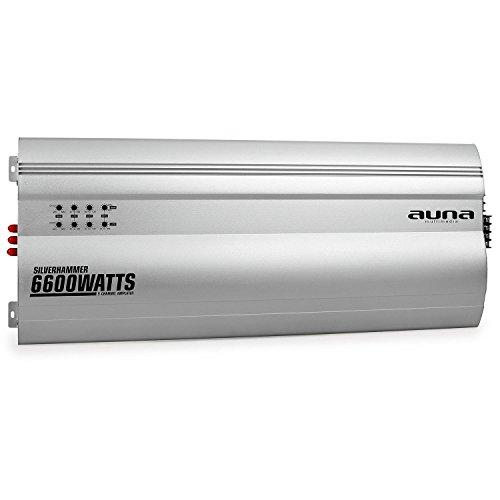 auna Silverhammer • Car HiFi Verstärker • 5-Kanal Auto-Endstufe • Car Amplifier • 6600 Watt Leistung max. • Hoch- & Tiefpassfilter • Gain Regler • zuschaltbarer Super Bass • brückbar • 5/4/3-Kanal Betrieb • Status LED • Aluminiumkühlkörper • silber