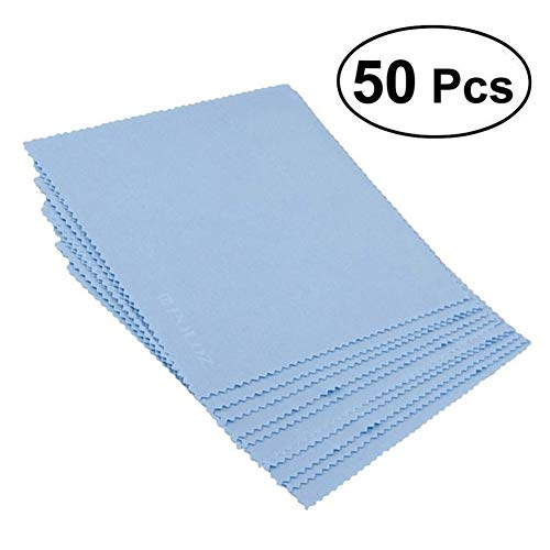 HUAJIANGHU Reinigungstücher 50pcs / Set Mikrofaser-Reinigungsmittel-Tuch-Reinigungs Glas-Brillen Tuch Sonnenbrillen Bildschirm Brillen Zubehör Reinigungstücher (Color : Blue)