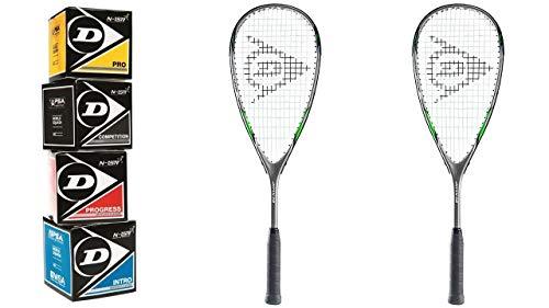Dunlop Squashset Blaze Pro 3.0 2 Schläger 2 Hüllen & 4 Dunlop Squashbälle