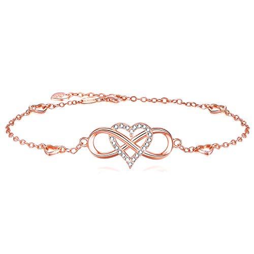 BlingGem Fußkettchen Damen aus Rotgold vergoldet 925 Sterling Silber mit Rundschliff Zirkonia Knöchel Armband Unendlichkeit Herz Frauen