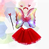 FairOnly 4 Pcs Ropa Vestido de Princesa de Niñas de Alas de Mariposo de Led Parpadeante