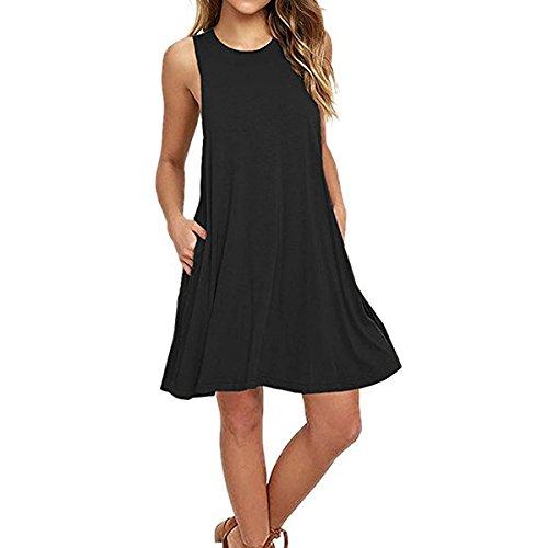 SUNNOW-Mujeres-Casual-verano-sin-mangas-vestido-de-playa-con-bolsillo-t-shirt-vestido-tnica-Mini-Dress