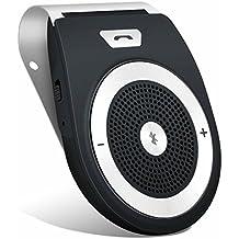 Andven Manos Libres Bluetooth 4.1 Coche Kit, reducción de eco y ruido de fondo para la visera Soporta GPS,universal, Música, Altavoz Inalámbrico para Teléfonos Móviles, conectar dos teléfonos