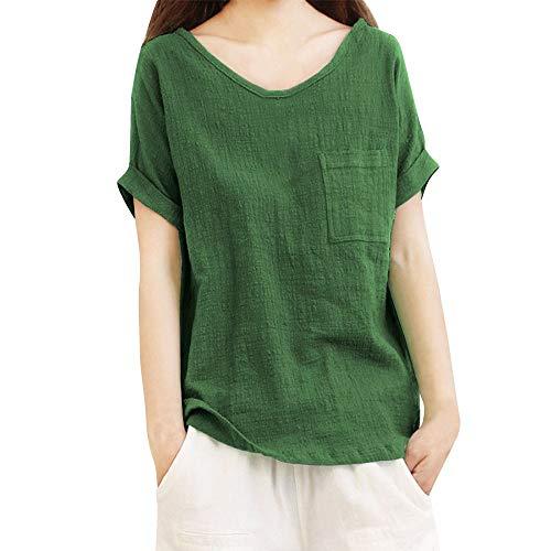 LOPILY Oberteil Bluse Shirt Damen Sommer Lässige Einfarbig Tunika Top mit Taschen Frauen Mode Solide Übergröße Kurzarm Locker Taschen T-Shirt Bluse Hemd Pullover Top(Grün,M)