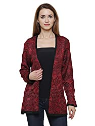 MansiCollections Red and Black Cardigan for Women