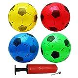 12 Balones de Fútbol Inflables de PVC - Incluye una bomba para inflar. - 4 Colores diferentes - Perfecto para regalos de niños, fiestas y bolsas - Cumpleaños exterior e interior juegos de juguete
